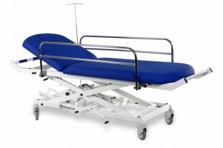 Hydraulisk brits för transport med sidogrindar, syrgasbehållare m.m.
