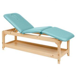 Stationär brits / massagebord - 3-delad med träbas - Justerbar - Förvaring