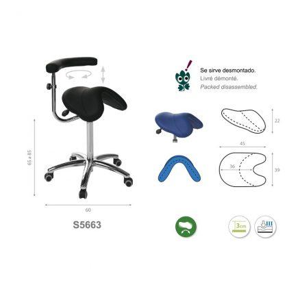 Sadelstol med ett multifunktionellt armstöd - Sadel