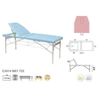 Massagebänk i lätt aluminium - Justerbar höjd
