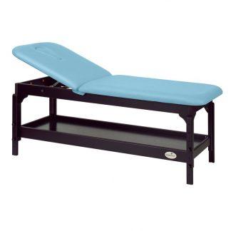 Stationär massagebord - 2-delad med träbas - Justerbar - Förvaring - Mörk