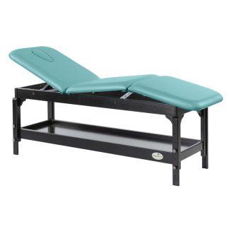 Stationär massagebord - 3-delad med träbas - Justerbar - Förvaring - Mörk