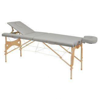 Hopfällbar massagebänk i trä - 2-delad - 182x70cm - Justerbar ryggstöd/höjd
