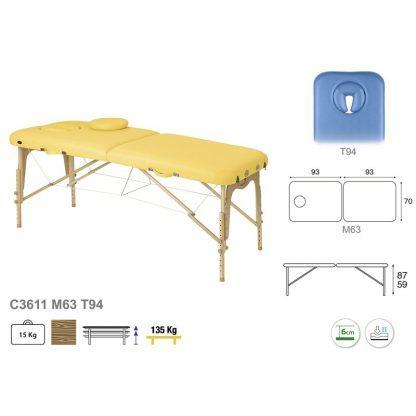 Hopfällbar massagebänk i trä - 2-delad - 186x70 cm - Justerbar höjd