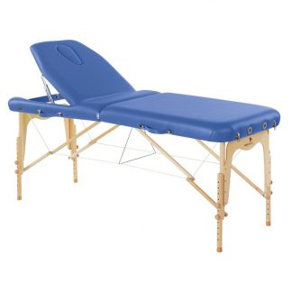 Foldable wooden massage table - 2 sections - 186x70cm - Adjustable height - Back support