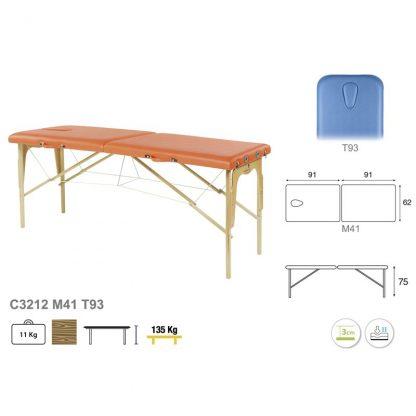 Hopfällbar massagebänk i trä - 2-delad - 182x62 cm - Fast höjd