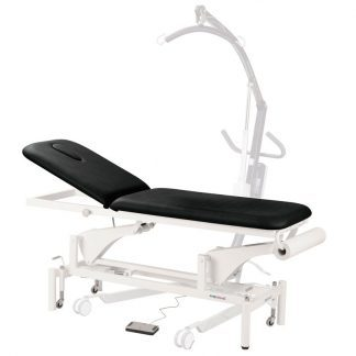 Electric treatment table - 2 sections with wheels - Specially customised for patient lifts
