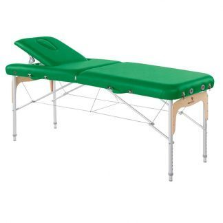 Foldable massage table - Aluminium - 2 sections - 186x70 cm - Back support