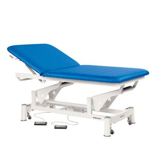 Electric treatment table - Extra wide - 2 sections with wheels