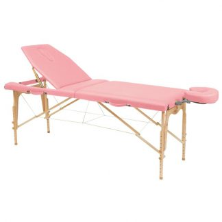 Foldable 2 sections wooden massage table - 182x70cm - Adjustable height/backrest