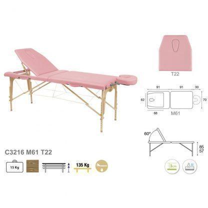 Hopfällbar 2-delad massagebänk i trä - 182x70cm - Justerbar höjd/ryggstöd