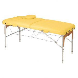 Hopfällbar massagebänk (Alu) - 2-delad - 186x70cm - Justerbar - Trädetaljer