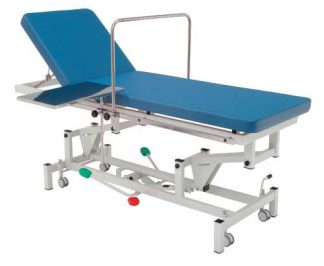 Hydraulic treatment table for minor surgery - 2 sections with wheels