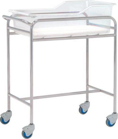Spädbarnssäng med hjul för neonatologi - Rostfritt stål - 80x48x85 cm