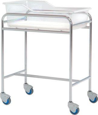Spädbarnssäng med hjul för neonatologi - Kromad stålstruktur - 80x48x85 cm