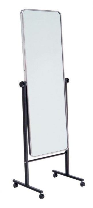 Mirror with wheels for body posture