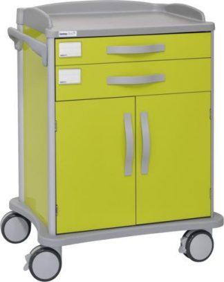 Sjukhusvagn - 2 lådor - 2 skåpdörrar (anpassade för ISO-korgar)