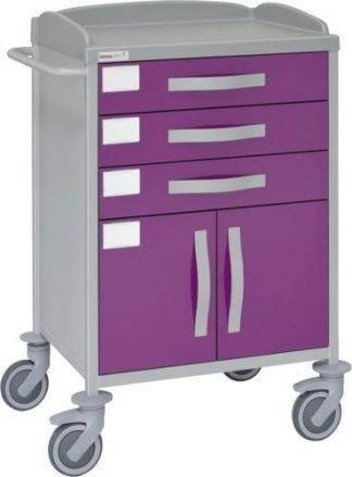Sjukhusvagn med 1 hyllplan - 3 lådor - 1 skåp - Epoxibeläggning