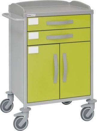 Multifunktionell sjukhusvagn med 1 hyllplan - 2 lådor - 1 stort skåp