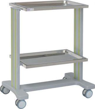 Multifunktionell sjukhusvagn med 2 hyllplan i aluminium