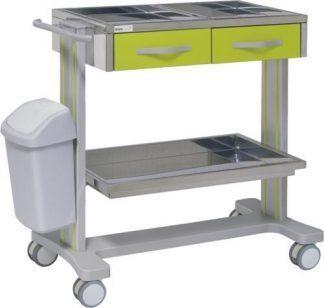 Sjukhusvagn med 2 hyllplan i aluminium - 2 lådor - Papperskorg