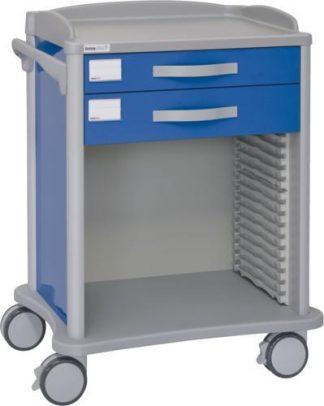 Sjukhusvagn - 2 lådor - Teleskopiska räls för ISO-korgar (600x400 mm)