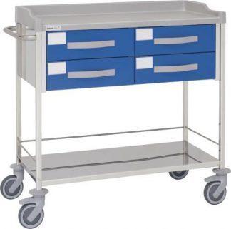 Multifunktionell sjukhusvagn med 2 hyllplan - 4 lådor