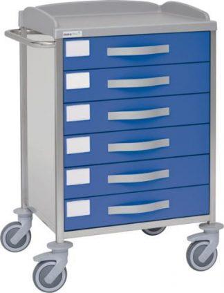 Multifunktionell sjukhusvagn med 1 hyllplan - 6 lådor