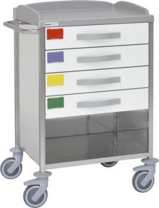 Multifunktionell sjukhusvagn med 2 hyllplan - 4 lådor - 3 väggar