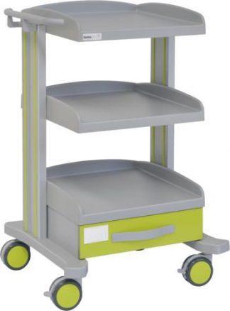 Sjukhusvagn med 3 hyllplan - 1 låda - Epoxibeläggning - Låda