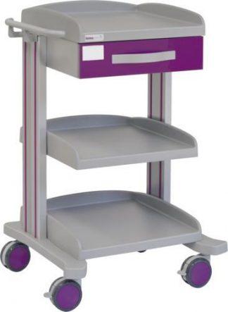Multifunktionell sjukhusvagn med 3 hyllplan - 1 låda - Epoxibeläggning