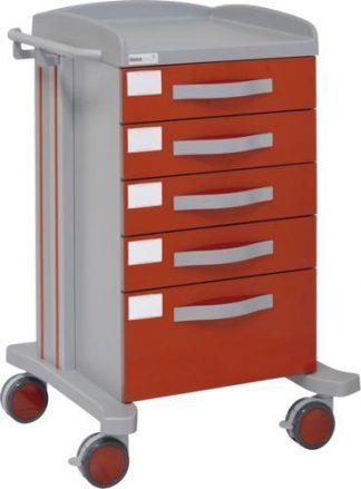 Multifunktionell sjukhusvagn med 1 hyllplan - 5 lådor - Epoxibeläggning