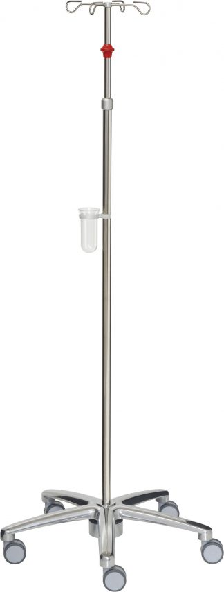 Droppställ och infusionspump - 4-krokar - Rostfritt stål - Tub 25/18 mm