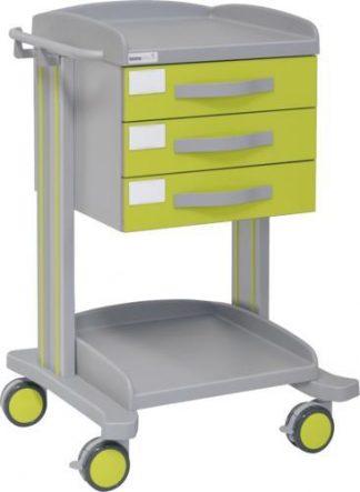 Multifunktionell sjukhusvagn med 2 hyllplan - 3 lådor - Epoxibeläggning