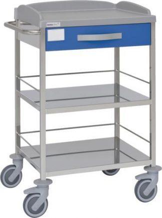 Multifunktionell sjukhusvagn med 3 hyllplan - 1 låda - Rostfritt stål