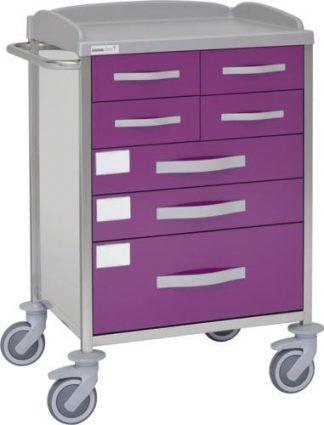 Multifunktionell sjukhusvagn med 1 hyllplan - 7 lådor