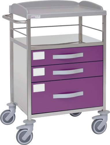 Multifunktionell sjukhusvagn med 2 hyllplan - 3 lådor