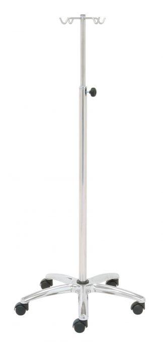 IV-pole - 4 hooks - Stainless steel - Tub 38/25 mm
