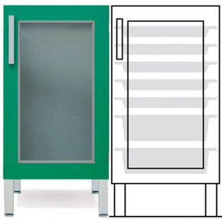 Floor cabinet - ISO - 1 glass wall and 5 2 baskets - Telescopic rail