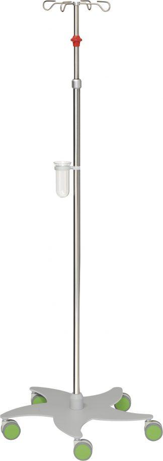 Droppställ och infusionspump - 4-krokar - Tubdiameter 25/18 mm - Röd/Grön