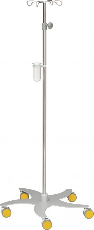 Droppställ och infusionspump - 4-krokar - Tubdiameter 25/18 mm - Gul