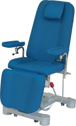 Elektrisk provtagningsstol med hjul och anpassningsbara armstöd