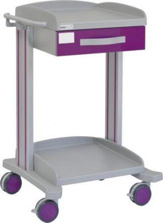 Multifunktionell sjukhusvagn med 2 hyllplan - 1 låda