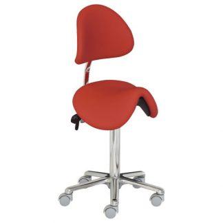Saddle chair with backrest - Aluminium base