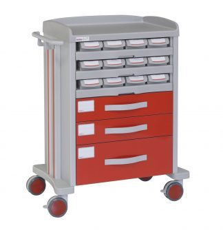 Medicine trolley - 12 medicine drawers - 3 large drawers
