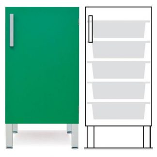 Floor cabinet - ISO-modul - 1 wall and 5 baskets - Telescopic rail
