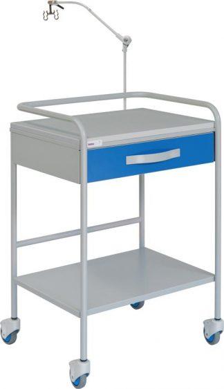 EKG-vagn med 1 hyllplan - 1 låda - Kabelhängare
