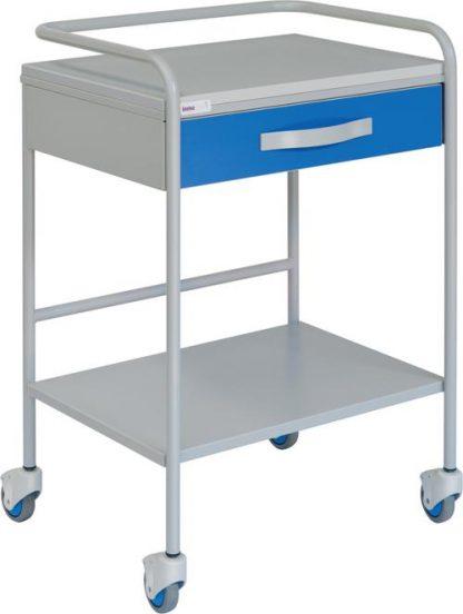 EKG-vagn med 1 hyllplan - 1 låda - Med skyddsskenor
