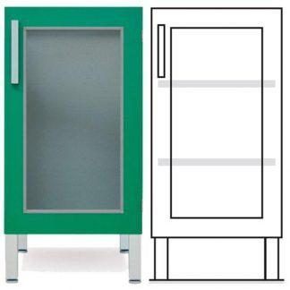 Golvstående skåp - ISO-modul - 1 glasdörr och 2 anpassningsbara hyllor
