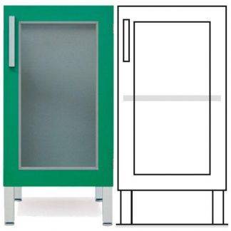 Floor cabinet - ISO-modul - 1 glass wall and 1 adjustable shelf